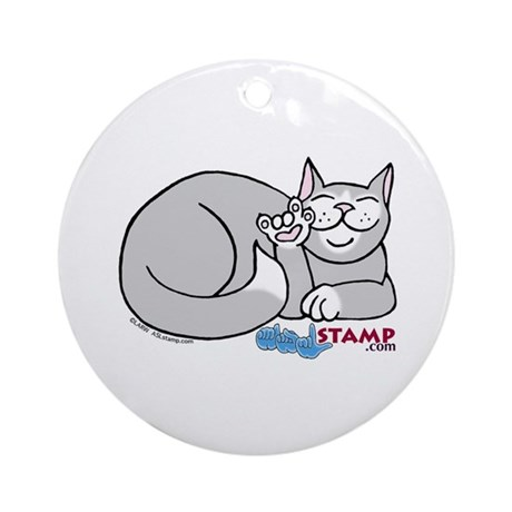 Gray/White ASL Kitty Ornament (Round)