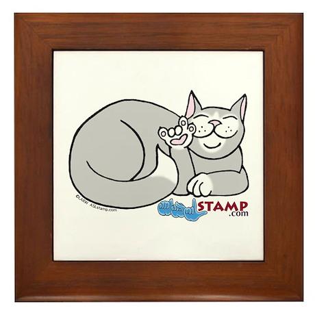 Gray/White ASL Kitty Framed Tile
