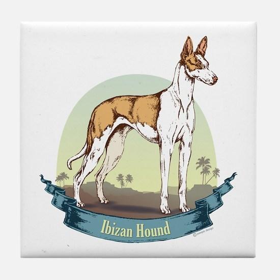 Ibizan Hound: Banner Series Tile Coaster
