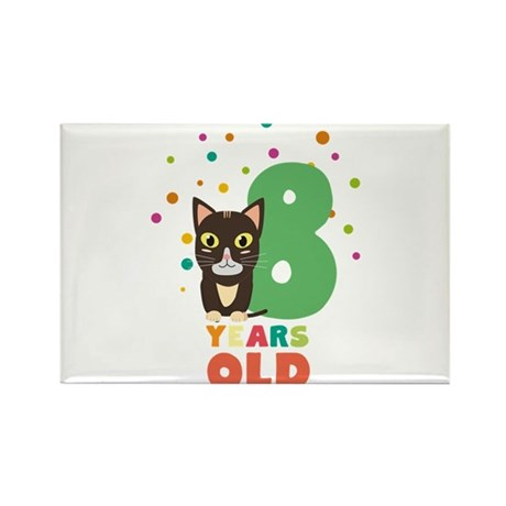 Eight Years 8th Birthday Party Cat C14m7 Magnets