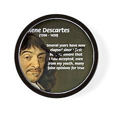 False Opinion Rene Descartes Wall Clock