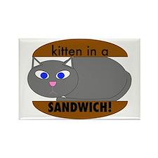 Kitten in a sandwich Rectangle Magnet