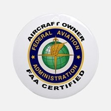 FAA Certified Aircraft Owner Ornament (Round)