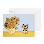 Sunflowers / Yorkie #17 Greeting Cards (Pk of 10)