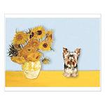 Sunflowers / Yorkie #17 Small Poster