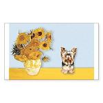 Sunflowers / Yorkie #17 Sticker (Rectangle 10 pk)