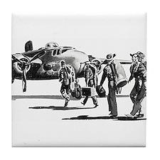 B-25 Crew Walking to Bomber Tile Coaster