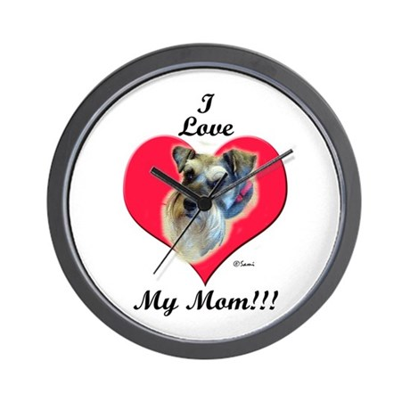 Schnauzer I Love Mom Wall Clock By Samisart