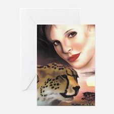 Cheetah and Women Greeting Cards (Pk of 10)