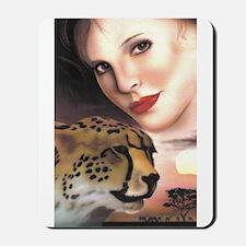 Cheetah and Women Mousepad