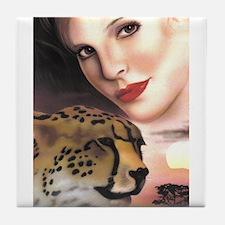 Cheetah and Women Tile Coaster