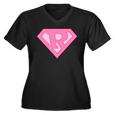 Super Pink R Logo Women's Plus Size V-Neck Dark T-