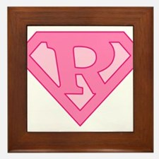 Super Pink R Logo Framed Tile