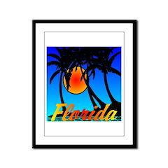 Florida Sunset Palm Trees Framed Panel Print