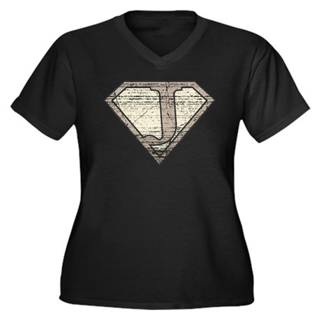 Super Vintage J Logo Women's Plus Size V-Neck Dark