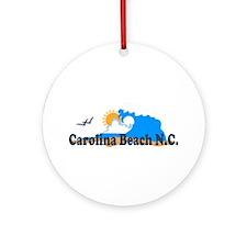 Carolina Beach NC - Waves Design Ornament (Round)