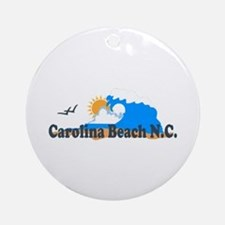 Carolina Beach NC - Waves Design Ornament (Round)
