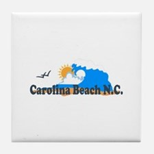 Carolina Beach NC - Waves Design Tile Coaster