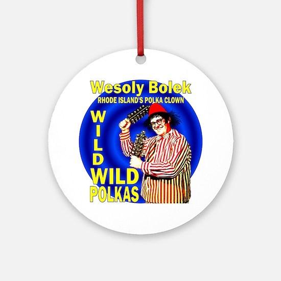 Wild Polka Clown Ornament (Round)