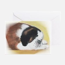 sleeping saint bernard Greeting Cards (Package of