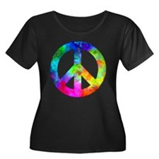 Retro tie-dyed peace sign T