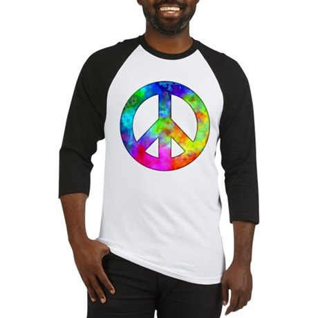Retro tie-dyed peace sign Baseball Jersey
