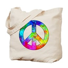 Retro tie-dyed peace sign Tote Bag