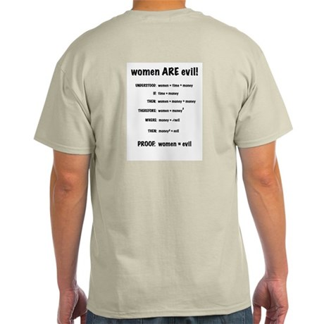 proof: woman ARE evil Light T-Shirt