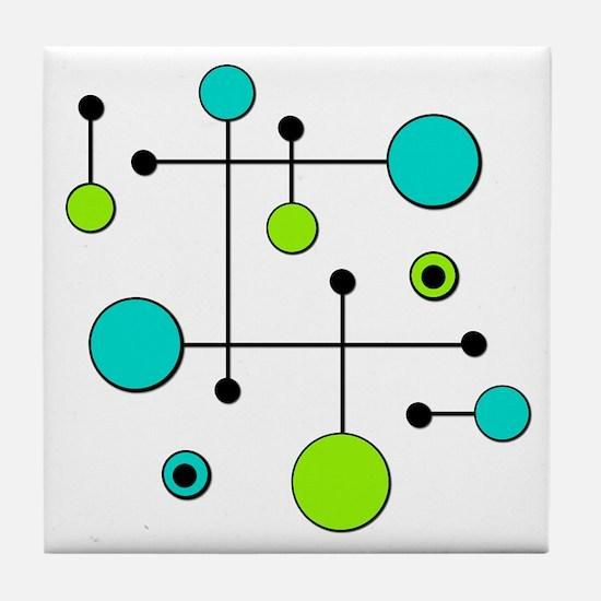 Lime & Teal Dot Dash Tile Coaster