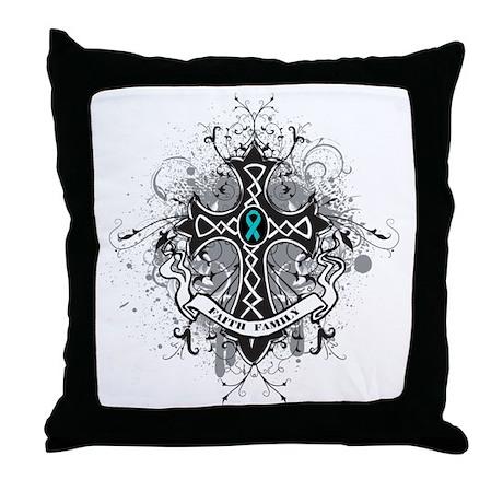 OvarianCancer FaithCross Throw Pillow
