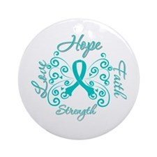 OvarianCancer HopeStrength Ornament (Round)