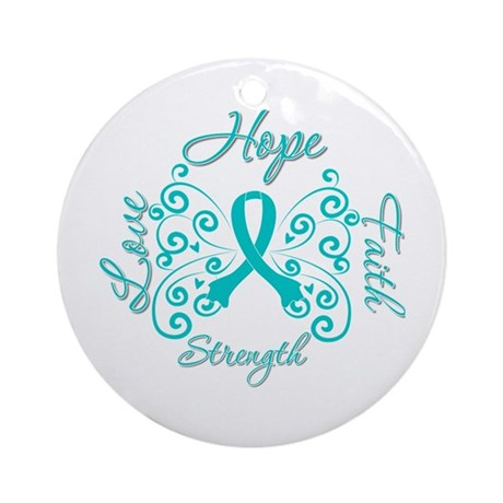 OvarianCancer HopeStrength Ornament (Round)