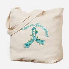 HopeIsEverything TealRibbon Tote Bag