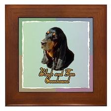 Black and Tan Coonhound Framed Tile