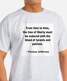 Jefferson Tree of Liberty Quote (Front) Ash Grey T