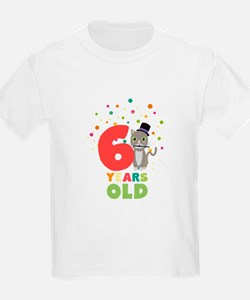 Six Years sixth Birthday Party Cat Cl9fe T-Shirt