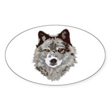 WOLF Oval Bumper Stickers
