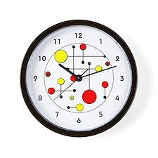 Red & Yellow Dot Dash Wall Clock