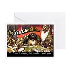 Poker Playin Dogs ~ Greeting Card