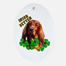 Irish Setter with shamrocks Oval Ornament