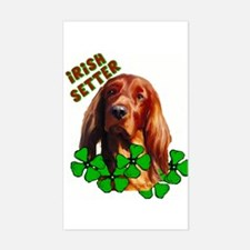 Irish Setter with shamrocks Rectangle Decal
