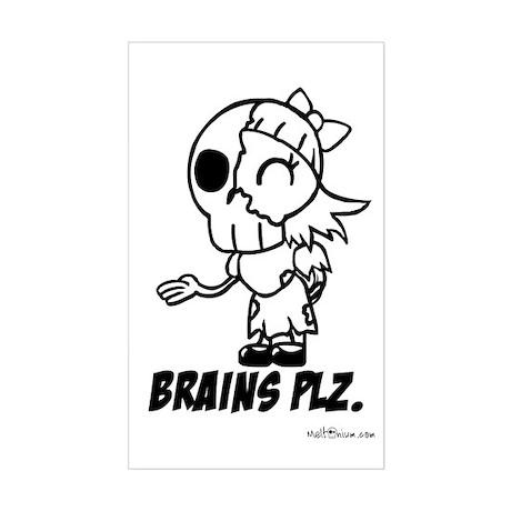 Cute Lil Zombie Girl Brains Plz Sticker