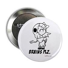 Cute Lil Girl Zombie Brains Plz Button