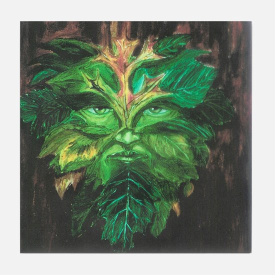Green Man Tile Coaster