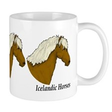 ng of three chestnut flaxen mane head profiles Mug