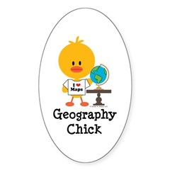 Geography Chick Sticker (Oval)
