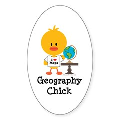 Geography Chick Sticker (Oval 10 pk)