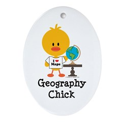 Geography Chick Ornament (Oval)