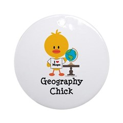 Geography Chick Ornament (Round)