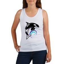 Orca Whale Dark Blue Waves Women's Tank Top